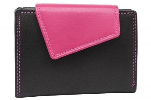 Außenriegel Damenbörse Schwarz-Pink