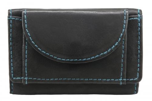 flache Lederbörse RFID-Blocker Schwarz-Blau