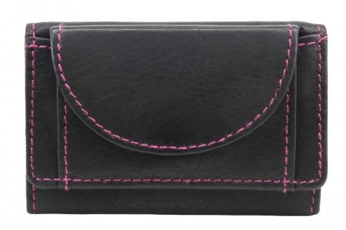 Geldbörse klein flach Schwarz-Pink