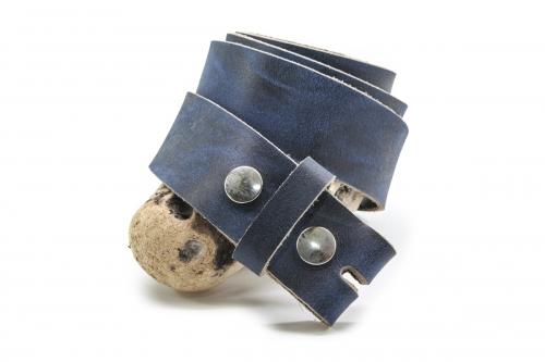Leder Wechselgürtel mit Druckknopf 4cm Blau