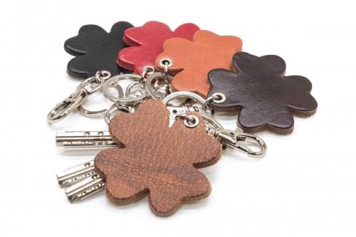 Schlüsselanhänger Leder Kleeblatt