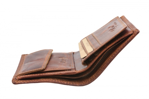 Vintage Lederbörse klein Hochformat Rotbraun