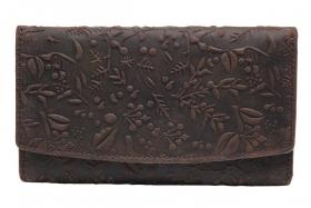 Damengeldbörse blumige Prägung Langformat Braun