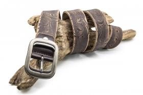 Jeansgürtel 4cm Prägung braun