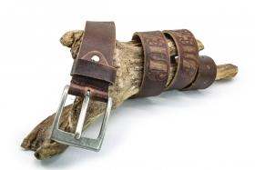 Büffelleder Gürtel kräftig 4cm Braun