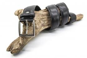 Ledergürtel klassisch Bombiert 4cm Schwarz