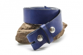 Rindleder Wechselgürtel mit Druckknopf 4cm Blau