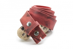 Navaho-Flamenco Wasserbüffel Leder Wechselgürtel mit Druckknopf 4cm Rot
