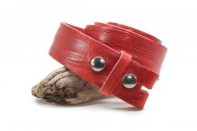 Master Lux Rindleder Gürtel Wechselgürtel mit Druckknopf 4cm Rot