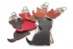 Schlüsselanhänger Leder Katze